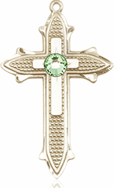 Bliss Birthstone Aug-Peridot Double Detailed 14kt Gold-filled Cross Pendant