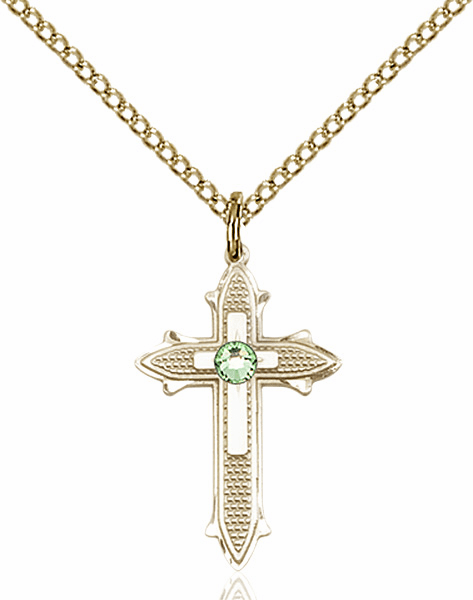 Bliss Birthstone Aug-Peridot Double Detailed 14kt Gold-filled Cross Necklace