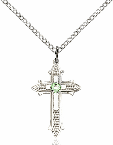 Bliss Birthstone Aug-Peridot Double Detailed Cross Necklace