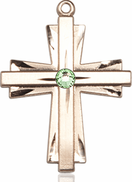 Birthstone Crystal August Peridot Double Etched 14kt Gold-filled Cross Necklace by Bliss
