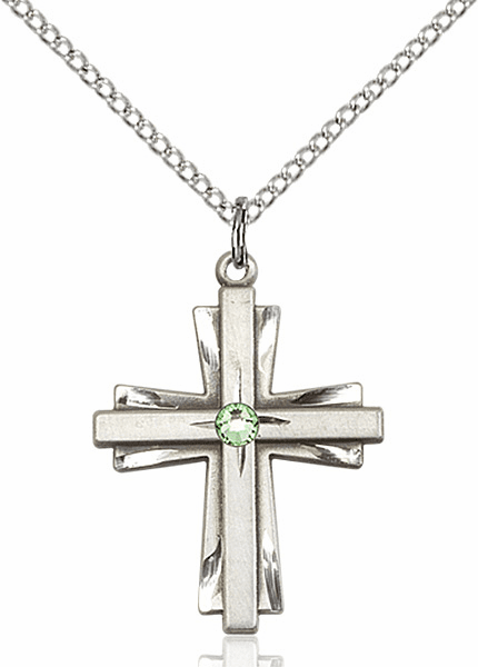 Birthstone Crystal August Peridot Double Etched Cross Necklace by Bliss