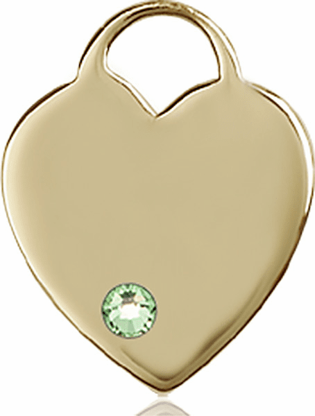 Birthstone Crystal August Peridot Heart 14kt Gold Charm Pendant by Bliss