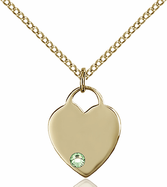 Birthstone Crystal August Peridot Heart 14kt Gold-filled Charm Necklace by Bliss