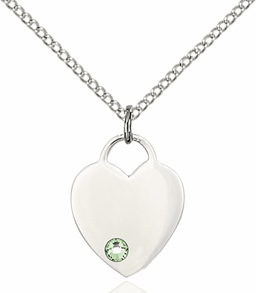 Birthstone Crystal August Peridot Heart Charm Necklace by Bliss