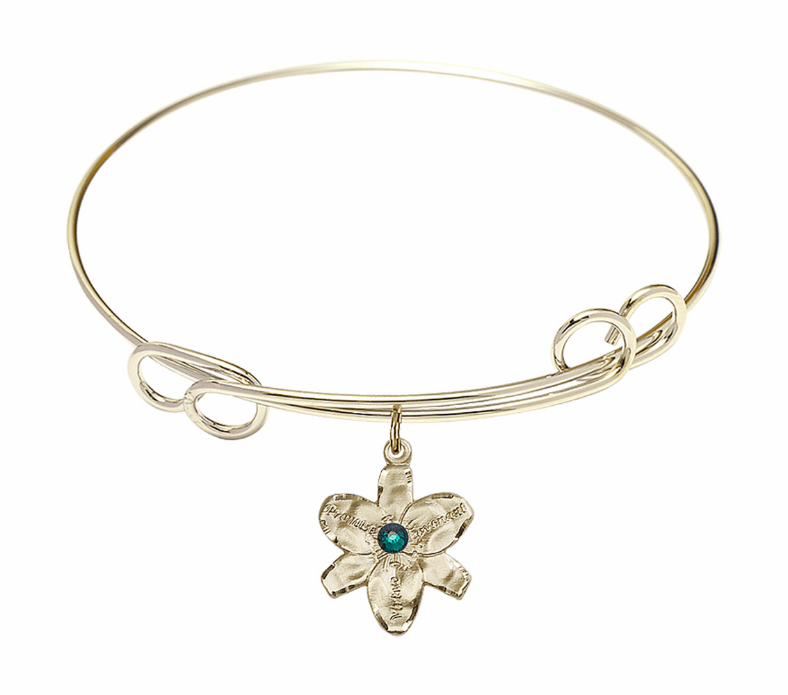 Birthstone Crystal Bangle Bracelet w/Chastity Flower