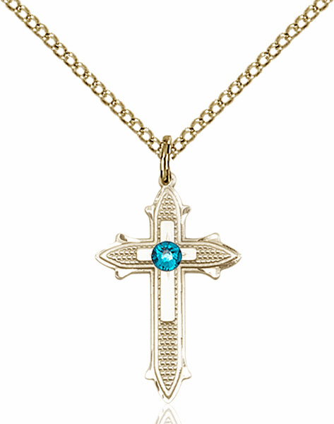 Bliss Birthstone Dec-Zircon Double Detailed 14kt Gold-filled Cross Necklace