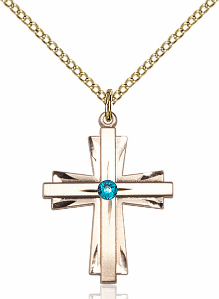 Birthstone Crystal December Zircon Double Etched 14kt Gold-filled Cross Necklace by Bliss
