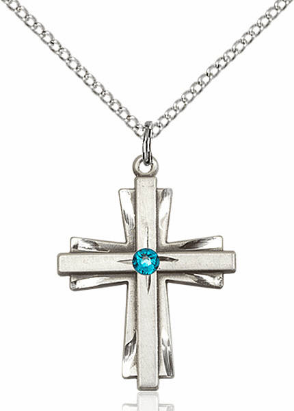 Birthstone Crystal December Zircon Double Etched Cross Necklace by Bliss