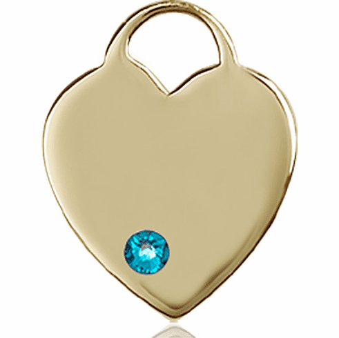 Birthstone Crystal December Zircon Heart 14kt Gold Charm Pendant by Bliss