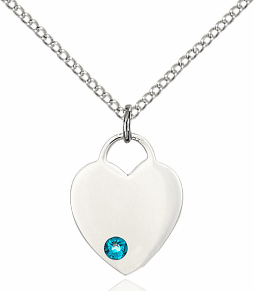 Birthstone Crystal December Zircon Heart Charm Necklace by Bliss