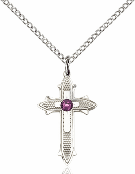 Bliss Birthstone Feb-Amethyst Double Detailed Cross Necklace