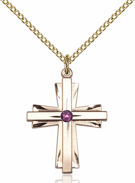 Birthstone Crystal February Amethyst Double Etched 14kt Gold-filled Cross Necklace by Bliss