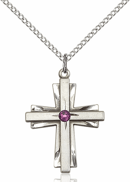 Birthstone Crystal February Amethyst Double Etched Cross Necklace by Bliss