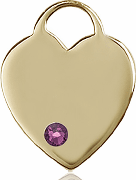 Birthstone Crystal February Amethyst Heart 14kt Gold Charm Pendant by Bliss