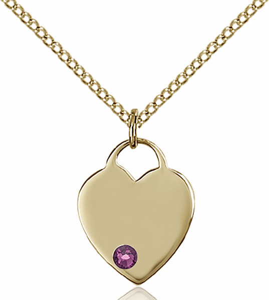 Birthstone Crystal February Amethyst Heart 14kt Gold-filled Charm Necklace by Bliss