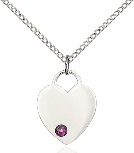Birthstone Crystal February Amethyst Heart Charm Necklace by Bliss