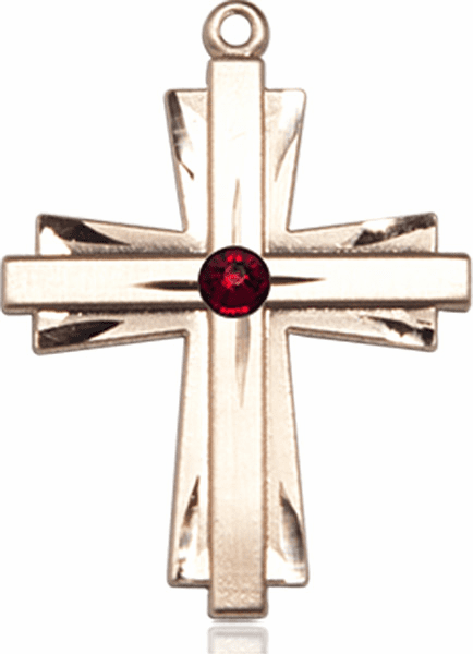 Birthstone Crystal January Garnet Double Etched 14kt Gold-filled Cross Necklace by Bliss