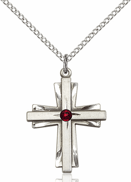 Birthstone Crystal January Garnet Double Etched Cross Necklace by Bliss
