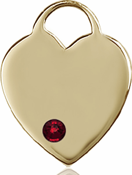 Birthstone Crystal January Garnet Heart 14kt Gold Charm Pendant by Bliss