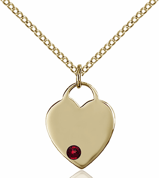 Birthstone Crystal January Garnet Heart 14kt Gold-filled Charm Necklace by Bliss