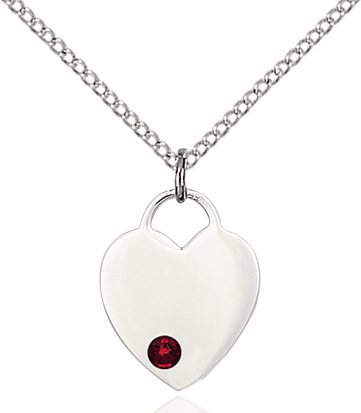 Birthstone Crystal January Garnet Heart Charm Necklace by Bliss
