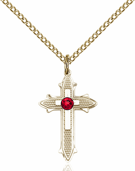 Bliss Birthstone Jul-Ruby Double Detailed 14kt Gold-filled Cross Necklace
