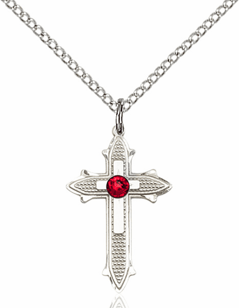 Bliss Birthstone Jul-Ruby Double Detailed Cross Necklace