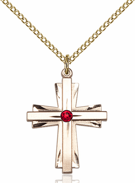 Birthstone Crystal July Ruby Double Etched 14kt Gold-filled Cross Necklace by Bliss