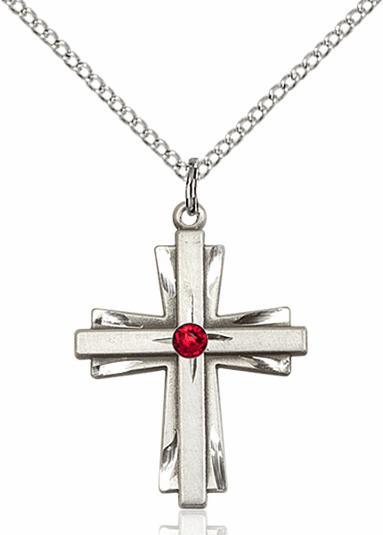 Birthstone Crystal July Ruby Double Etched Cross Necklace by Bliss