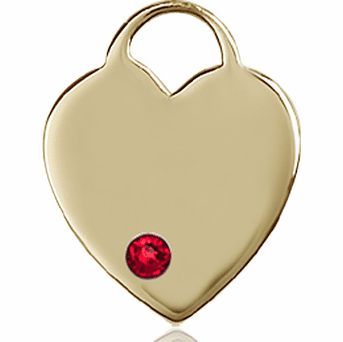Birthstone Crystal July Ruby Heart 14kt Gold Charm Pendant by Bliss