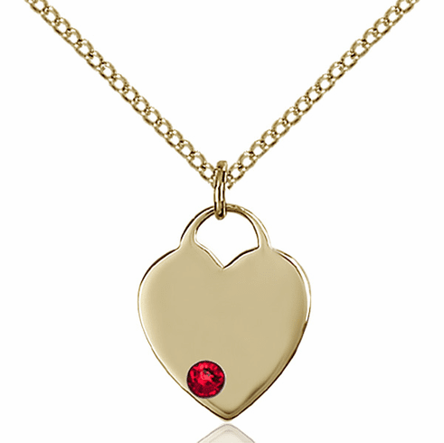 Birthstone Crystal July Ruby Heart 14kt Gold-filled Charm Necklace by Bliss