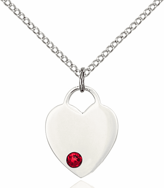 Birthstone Crystal July Ruby Heart Charm Necklace by Bliss
