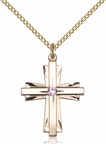 Birthstone Crystal June Lt Amethyst Double Etched 14kt Gold-filled Cross Necklace by Bliss