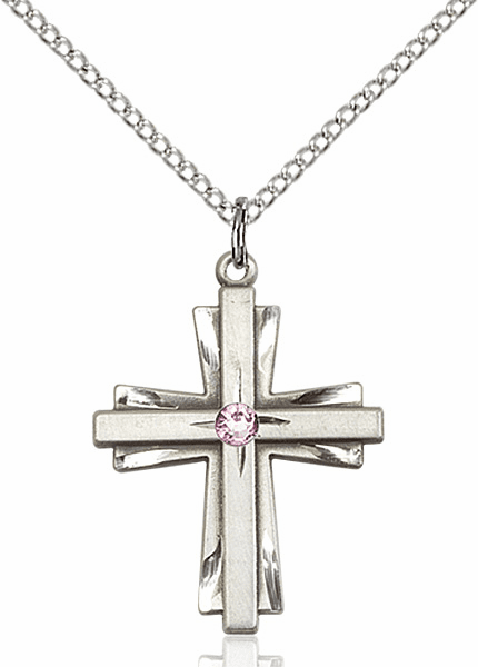 Birthstone Crystal June Lt Amethyst Double Etched Cross Necklace by Bliss