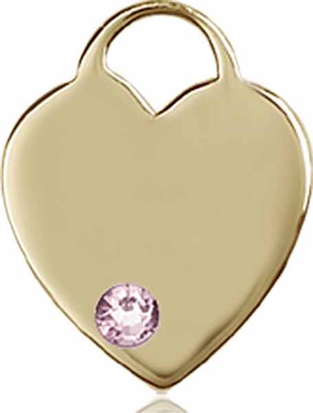 Birthstone Crystal June Lt Amethyst Heart 14kt Gold Charm Pendant by Bliss