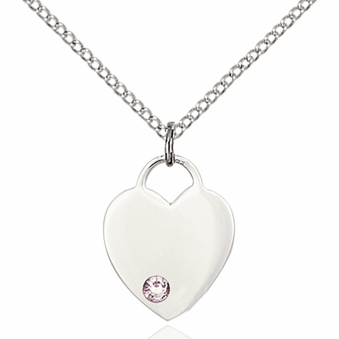 Birthstone Crystal June Lt Amethyst Heart Charm Necklace by Bliss