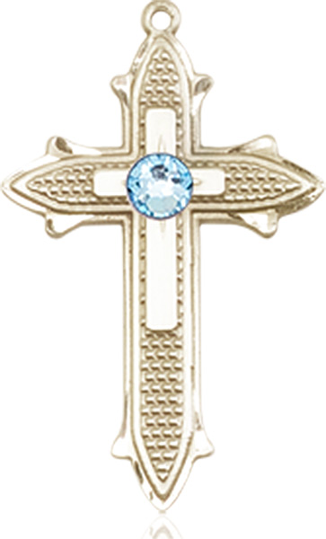 14kt Gold Cross Medal with 3mm Crystal bead.
