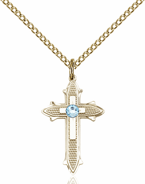 Bliss Birthstone Mar-Aqua Double Detailed 14kt Gold-filled Cross Necklace