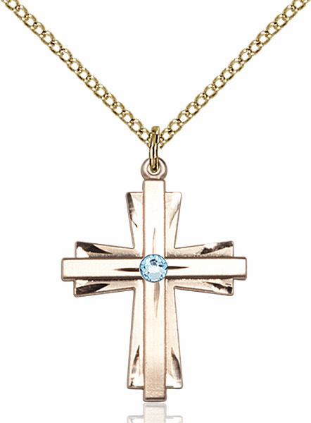 Birthstone Crystal March Aqua Double Etched 14kt Gold-filled Cross Necklace by Bliss
