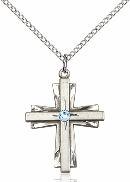 Birthstone Crystal March Aqua Double Etched Cross Necklace by Bliss