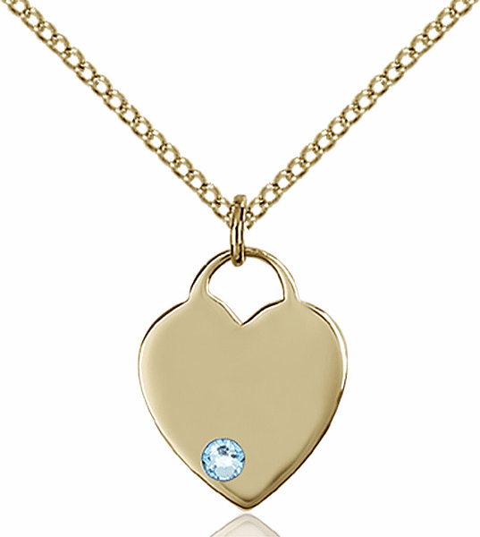 Birthstone Crystal March Aqua Heart 14kt Gold-filled Charm Necklace by Bliss