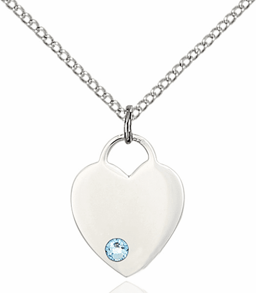 Birthstone Crystal March Aqua Heart Charm Necklace by Bliss