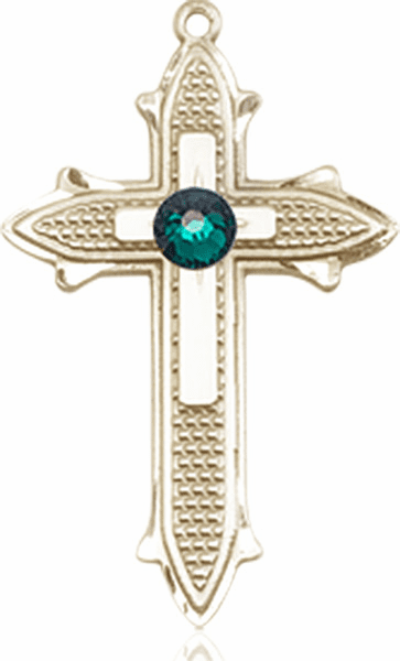 Bliss Birthstone May-Emerald Double Detailed 14kt Gold-filled Cross Pendant