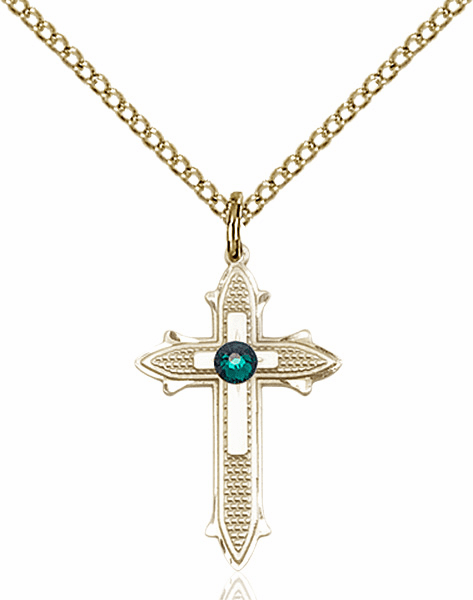 Bliss Birthstone May-Emerald Double Detailed 14kt Gold-filled Cross Necklace