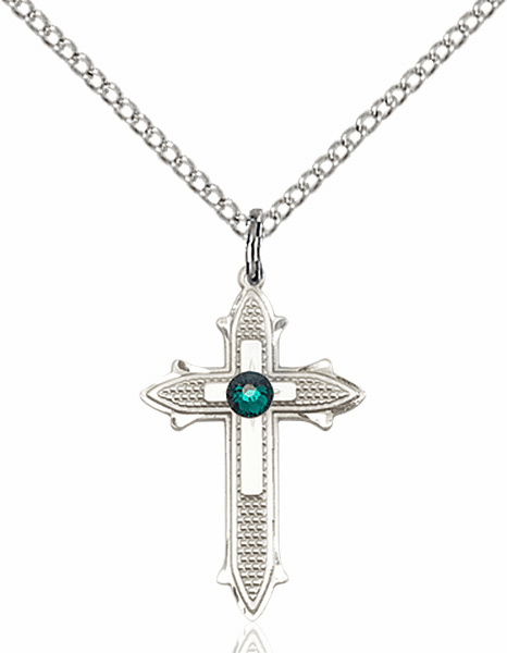 Bliss Birthstone May-Emerald Double Detailed Cross Necklace