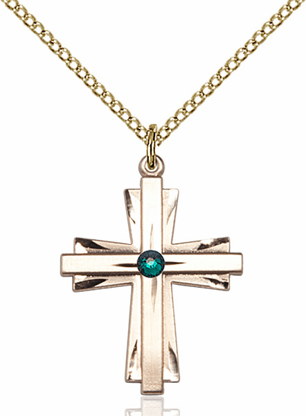 Birthstone Crystal May Emerald Double Etched 14kt Gold-filled Cross Necklace by Bliss