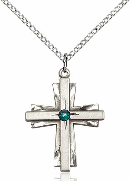 Birthstone Crystal May Emerald Double Etched Cross Necklace by Bliss