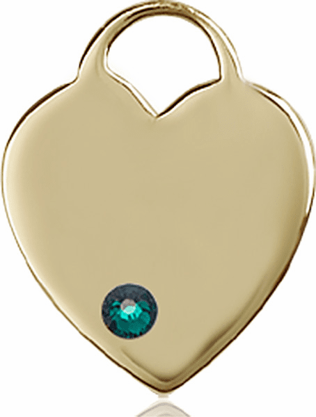 Birthstone Crystal May Emerald Heart 14kt Gold Charm Pendant by Bliss