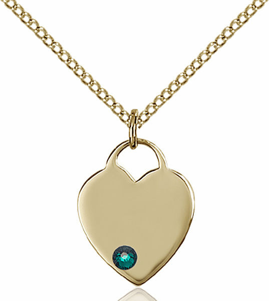 Birthstone Crystal May Emerald Heart 14kt Gold-filled Charm Necklace by Bliss