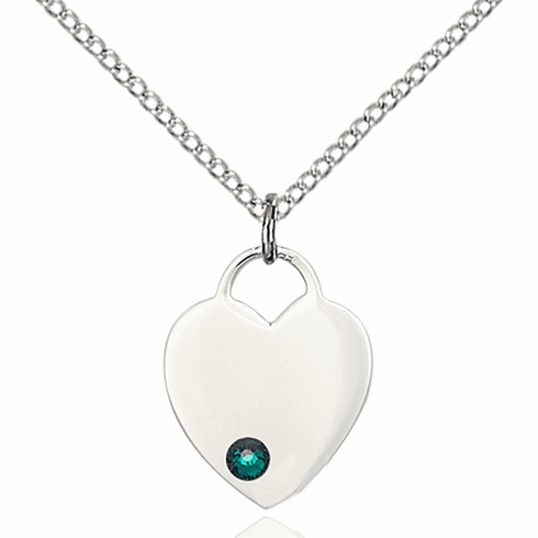 Birthstone Crystal May Emerald Heart Charm Necklace by Bliss